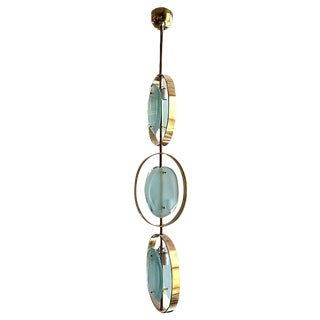 Mid-Century Modern Murano Glass & Brass Pendant Chandelier For Sale