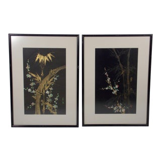 Chinese Signed Paintings on Silk, Bamboo and Cherry Blossoms - a Pair For Sale