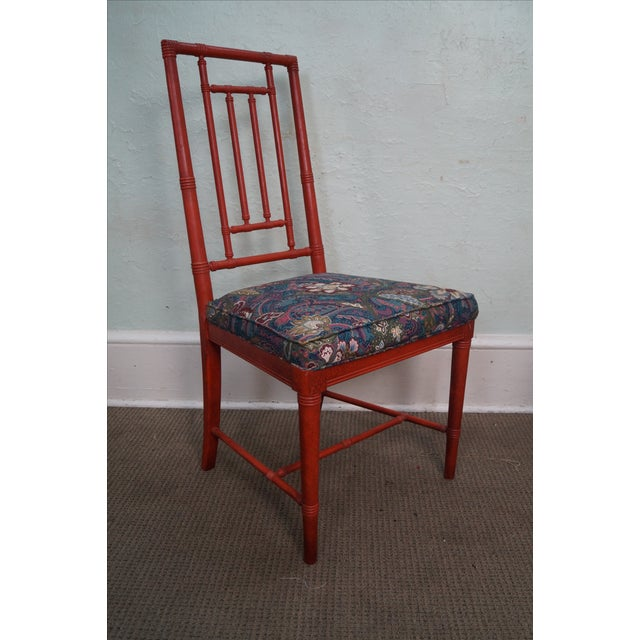 Drexel Heritage Vintage Faux Bamboo Painted Dining Chairs - 6 - Image 5 of 10