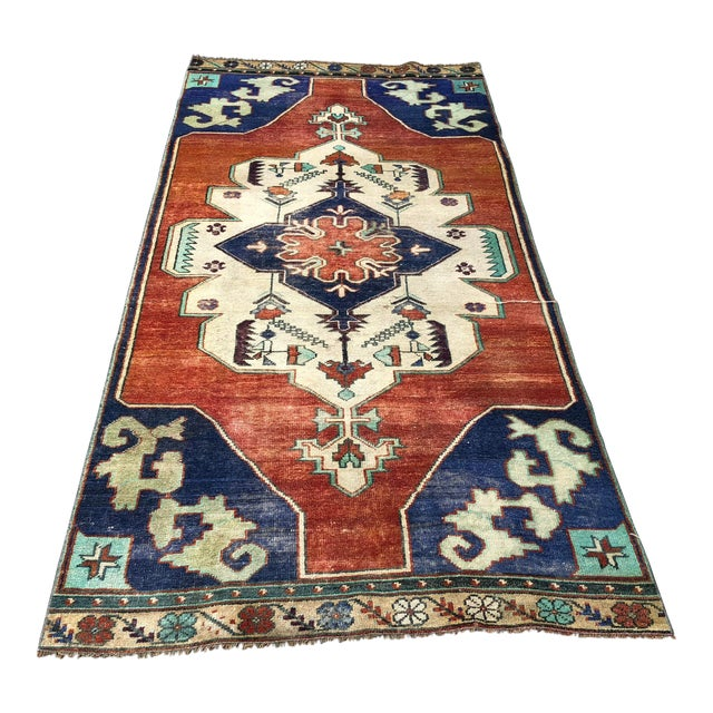 1960s Vintage Turkish Oushak Floral Rug - 3′10″ × 8′3″ For Sale