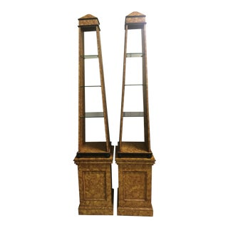 Ardley Hall Faux Tortoise Obelisk Etageres - A Pair For Sale