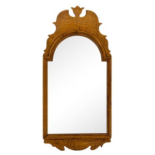 Arched Queen Anne Curly Maple Mirror For Sale