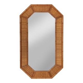 Vintage Coastal Wicker and Faux Bamboo Mirror For Sale