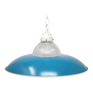1970's Teal Blue Saucer Pendant Light For Sale