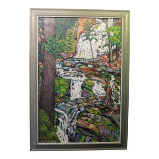 Early 20th Century Antique Ede Else Waterfall Painting For Sale