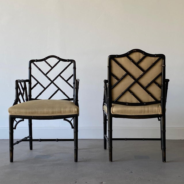 Wood Mid 20th Century Faux Bamboo Regency Armchairs - a Pair For Sale - Image 7 of 9
