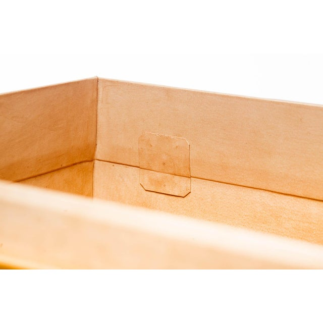 Hand-Painted Natural Tan Leather Box on Handcrafted Brass Stand as Side Table For Sale - Image 10 of 11