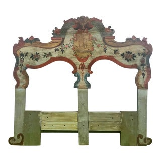 19th Century New England Hand Painted Wooden Headboard For Sale