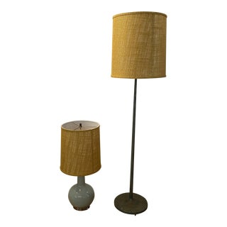 Mid-Century Floor Lamp & Bedside Lamp - A Pair For Sale