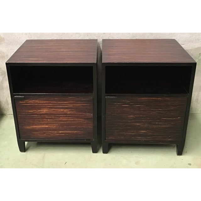 Mid-Century Modern 20th Pair of Ebonized Macassar NightStands or Side Tables With One Door For Sale - Image 3 of 12