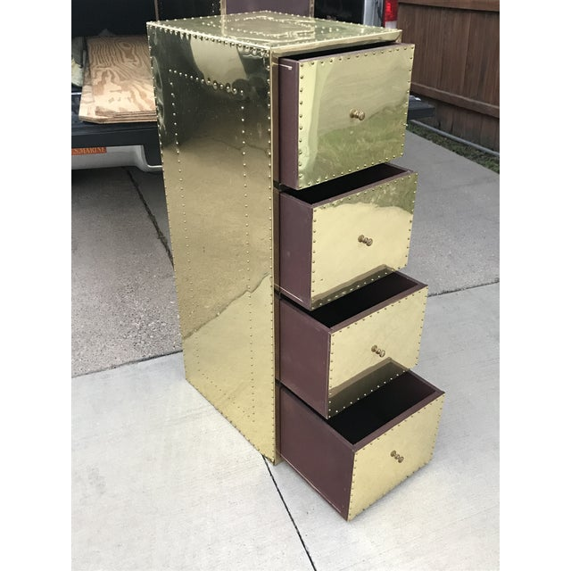 Metal 1970s Mid Century Modern Brass Studded Four Drawer Filing Cabinet For Sale - Image 7 of 12