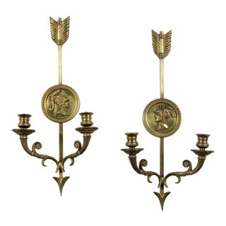 1930s French Empire Gold Metal Sconces - a Pair For Sale