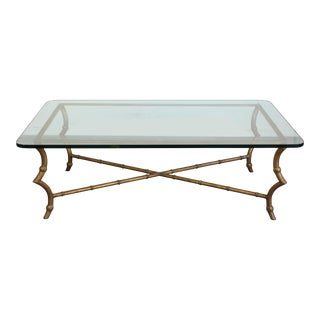 Vintage Faux Bamboo Coffee Table in Gold Tone For Sale