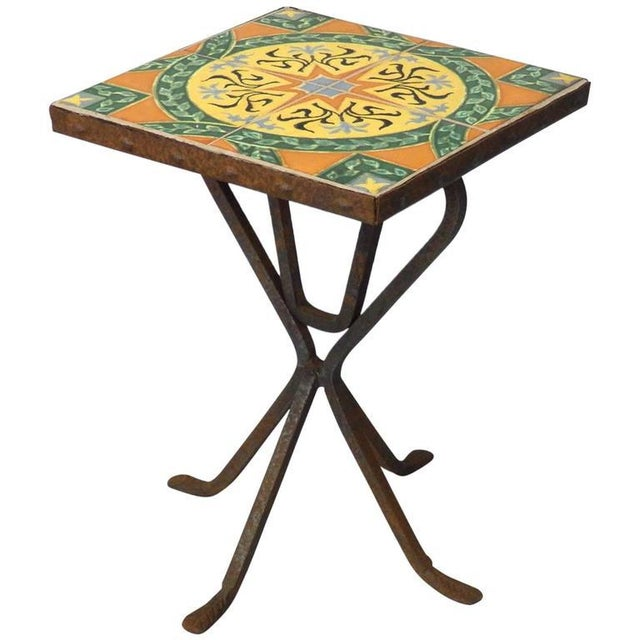 Mid 20th Century Wrought Iron Base Catalina Tile-top Occasional Table For Sale - Image 5 of 5