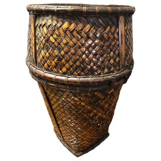 20th Century Indonesian Handwoven Rattan and Bamboo Hauling Basket For Sale
