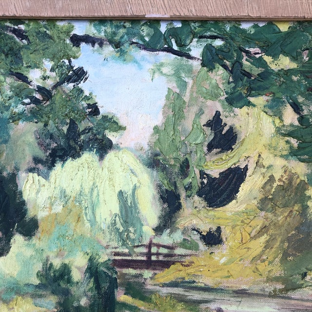 1980s M.Bickel Children Playing in Stream Landscape Painting For Sale In Baltimore - Image 6 of 13