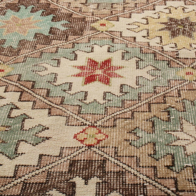 Rug & Kilim 1950s Vintage Mid Century Beige-Brown and Blue Wool Rug With Red Accents For Sale - Image 4 of 5