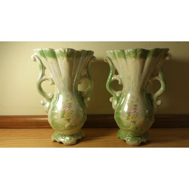 Handled Iridescent Ceramic Vases - A Pair - Image 4 of 5