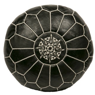 Embroidered Leather Pouf in White on Black (Stuffed) For Sale