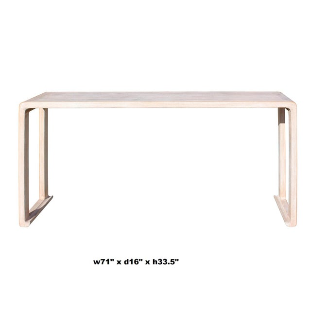 Wood Oriental Distressed Long Wash Off White Scroll Altar Console Table For Sale - Image 7 of 8