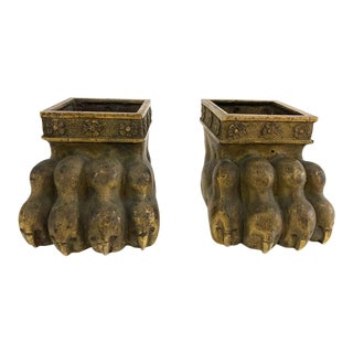 Gilt Bronze Lion Paw Furniture Feet - a Pair For Sale