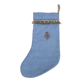 Holiday Appliqued Silver Flower Christmas Stocking For Sale