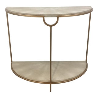 Regina Andrew Modern Gray Faux Shagreen Ad Gold Finished Vogue Console Table For Sale