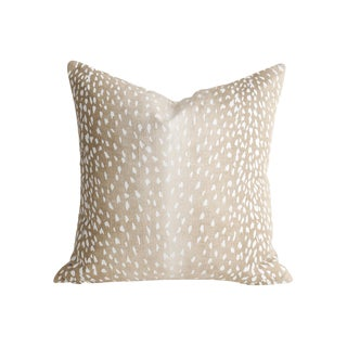 Boho Chic Linen Antelope Fawn Pillow For Sale