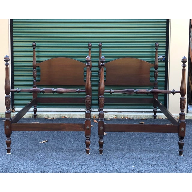 Solid Mahogany Acorn Top Twin Beds- a Pair For Sale - Image 13 of 13