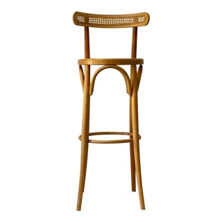 1980s Vintage Natural Bentwood & Cane Thonet Bar Chair