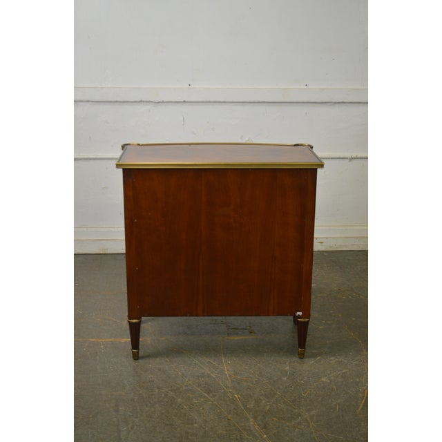 2000 - 2009 Theodore Alexander Regency Style Eglomise Flame Mahogany Bow Front Veneto Chest For Sale - Image 5 of 13