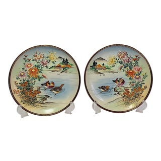 Antique Early 20th Century Japanese Satsuma Scenic Cabinet Plates With Mandarin Ducks - Set of 2 For Sale
