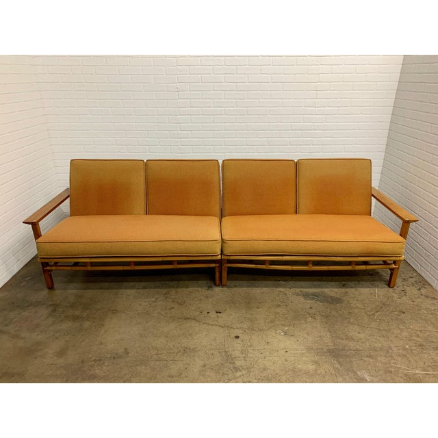 Rare combination of walnut with rattan love seats by Ficks Reed that can be used as one long sofa or as a corner unit or a...