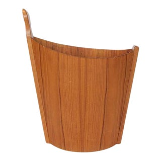 1950s Westnofa Teak Waste Basket For Sale