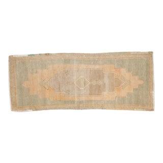 """Vintage Distressed Oushak Rug Mat Runner - 1'7"""" X 4' For Sale"""