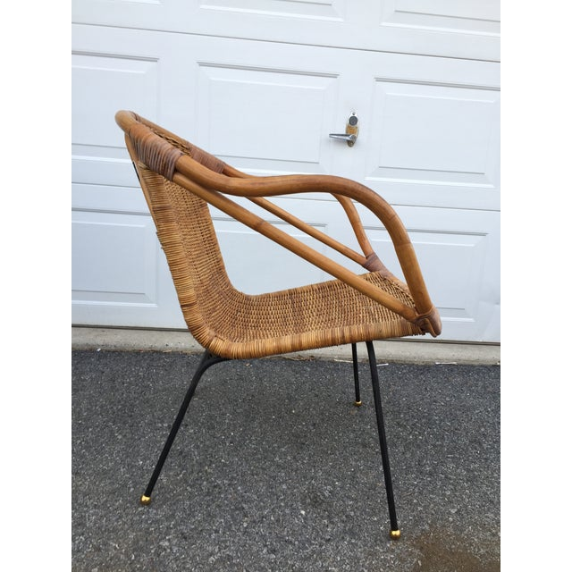1960s Calif-Asia Bamboo and Wicker Arm Chair For Sale - Image 5 of 12