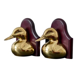 English Solid Brass and Wood Duck Bookends - a Pair For Sale