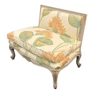 Unusual Hollywood Regency Petit Settee W Lampas Floral Upholstery For Sale