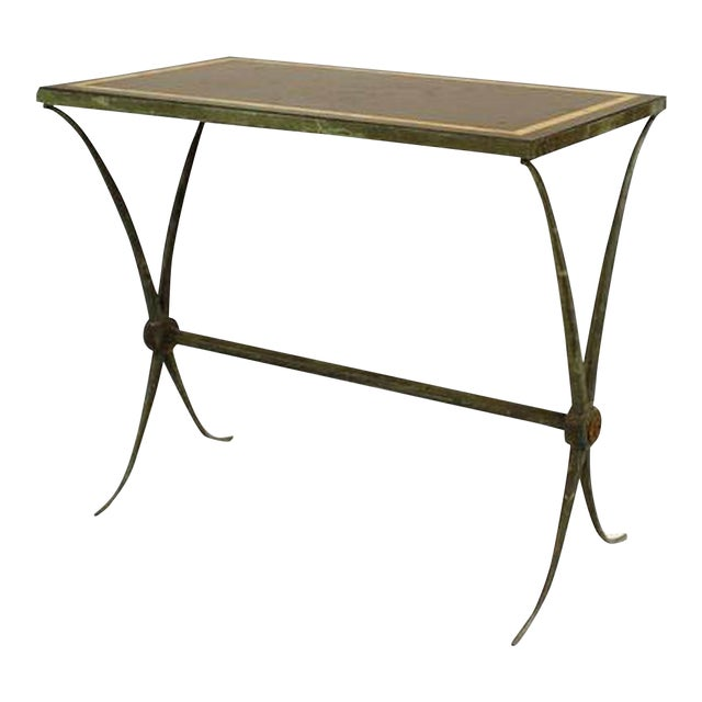 French Art Deco Green Patinated Bronze End Table For Sale
