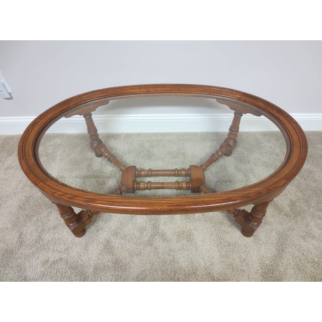 Pennsylvania House Oak & Glass Coffee Table - Image 2 of 7