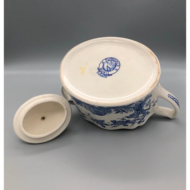 Blue and White Furnivals Quail 1913 Pottery Teapot, Creamer and Sugar Bowl Set For Sale In Providence - Image 6 of 13