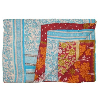 Vintage Turkish Blue & Orange Kantha Quilt For Sale