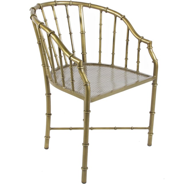 Modern Chinoiserie Brass Bamboo Arm Chair For Sale - Image 3 of 3