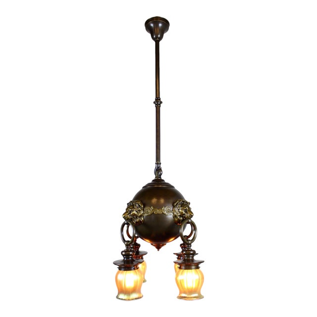 Classic Revival Lion Light Fixture For Sale