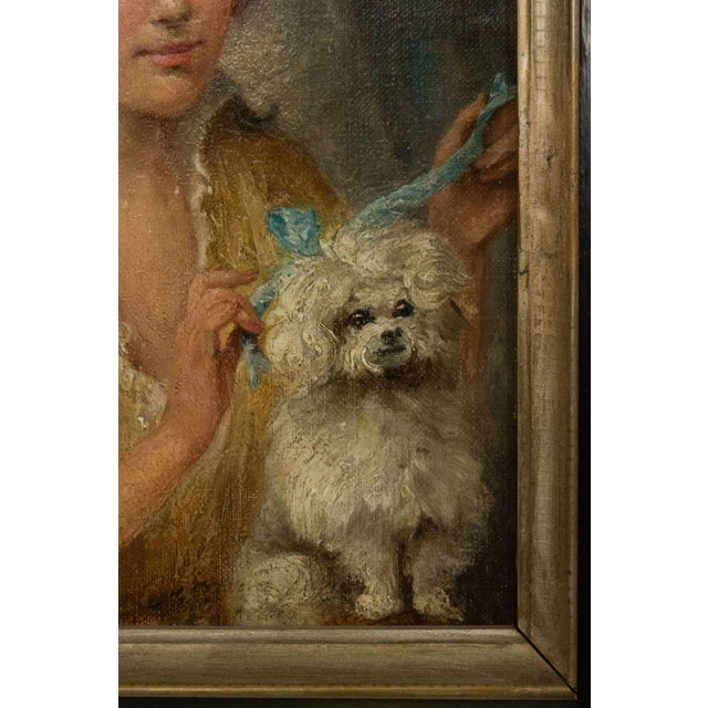Victorian French Victorian Lady and Poodle Portrait For Sale - Image 3 of 6
