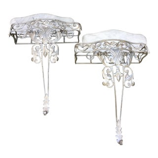 Vintage Wrought Iron Console Tables - a Pair For Sale