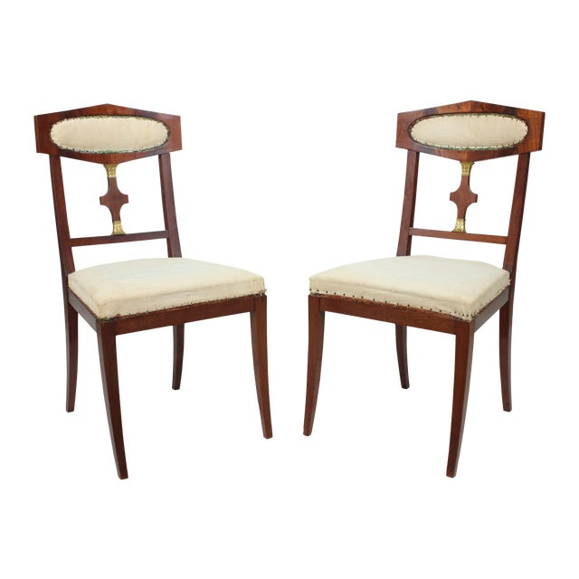 Mahogany Empire Style Library Chair - A Pair - Image 1 of 4