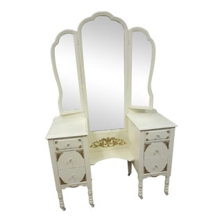 Victorian Ivory VanityMakeup Dresser With Gold Leaf Accents With Mirror For Sale