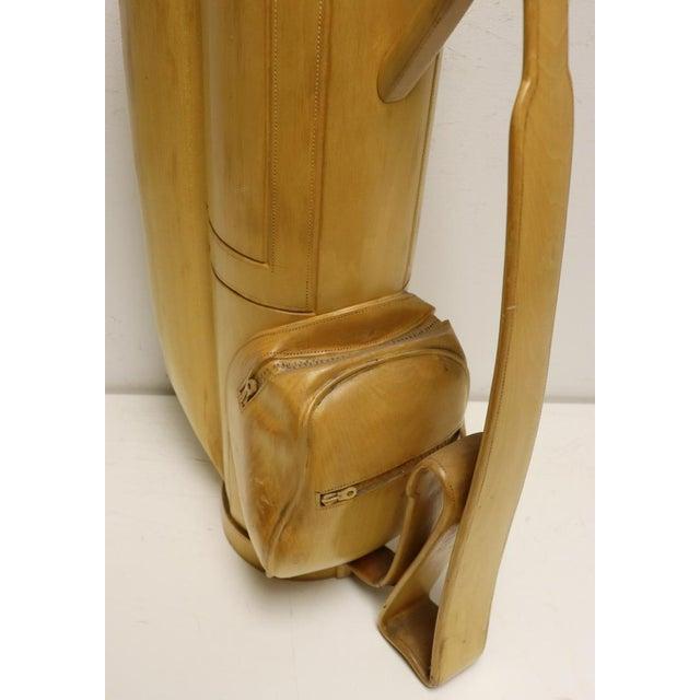1960s Vintage Carved Wood Decorative Golf Bag For Sale - Image 5 of 11