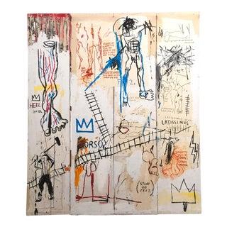 "Jean Michel Basquiat Estate Fine Art Lithograph Pop Art Print ""Leonardo Da Vinci's Greatest Hits"" 1982 For Sale"
